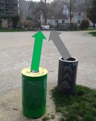 direction la benne à ordures du parc Paul Mistral