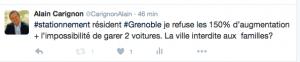 Le tweet d'Alain Carignon qui souhaite qu'une pétition soit organisée pour empêcher ces mesures