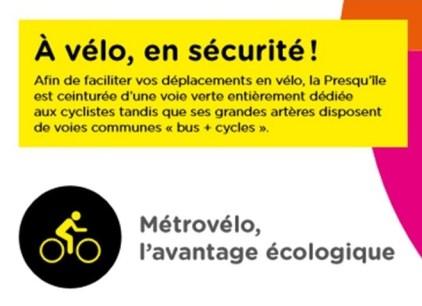 C. Ferrari (PS) sur la plaquette Métro de la Presqu'île : en sécurité sur les voies vélos + bus