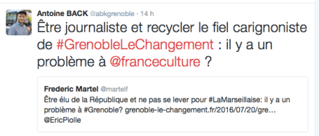 Attaque directe contre un journaliste de France Culture accusé de relayer le fait que des élus ne se soient pas levés pour la Marseillaise