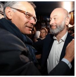 """A peine arrivé à """"EN Marche """" S.Gemmani cru la division et affronte Didier Rambaud... Ils se congratulent sans se regarder ( photo le DL)"""