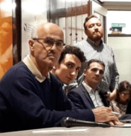 Le Président de l'Union de Quartier, Sébastien Tomasella, Eric Piolle, Antoine Back: un très mauvais moment pour les deux derniers...( photo le DL)
