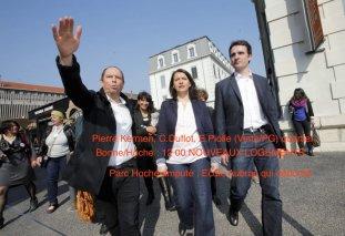 Pierre Kermen est un acteur essentiel du clan des élus Verts/Ades qui participe à la gestion de Grenoble depuis 1995 avec une seule interruption ( 2008/2014) . Ici avec Cécile Duflot et Eric Piolle
