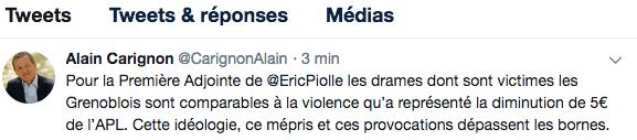 Hier Alain Carignon dénonçait encore la municipalité Piolle