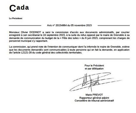 Olivier Dodinot avait été contraint de passer par la CADA pour obtenir les informations auxquelles tout citoyen a droit: E.Piolle a même menti à la CADA...