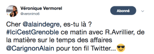 Samedi elle relance Alain Degre afin de fausser la fiche d'Alain Carignon: rien de mieux à faire pour la ville ?