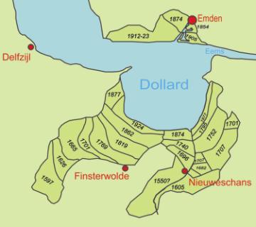 Kaartje van de Dollardpolders en hun inpolderingsjaar