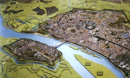 De vestingen van Maastricht, met Wyck op de oostoever