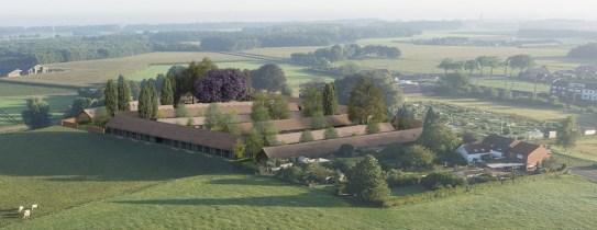 De voormalige quarantainestallen, dronefoto van de website van de herberg