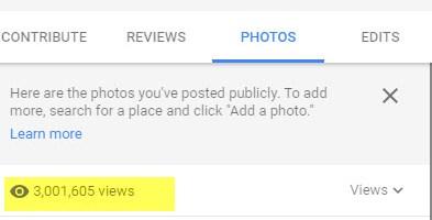 My #GoogleLocalGuide photos reach 3 million views on #GoogleMaps