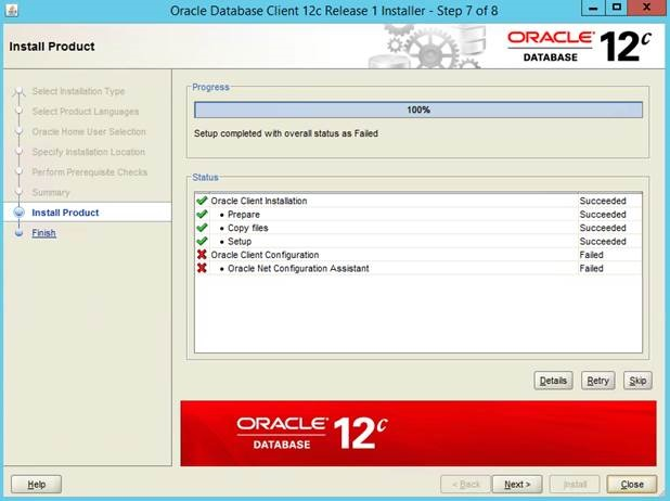 Install Oracle Client 12c on Windows 10 – INS-20802: Oracle Net