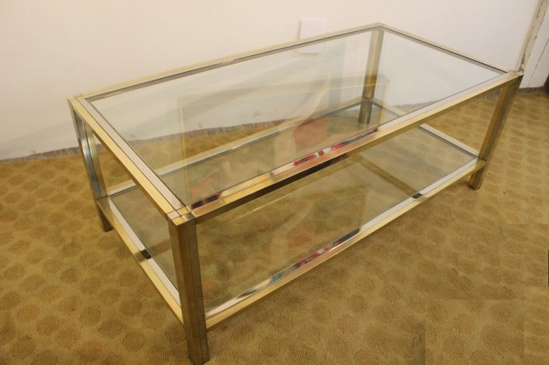 brass and chrome coffee table (9)