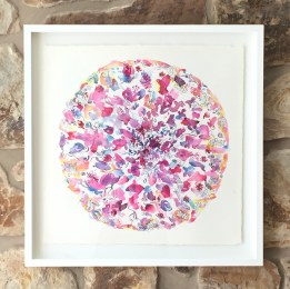 'Summer Petal Play', watercolour on Arches paper, float framed 74x74cm