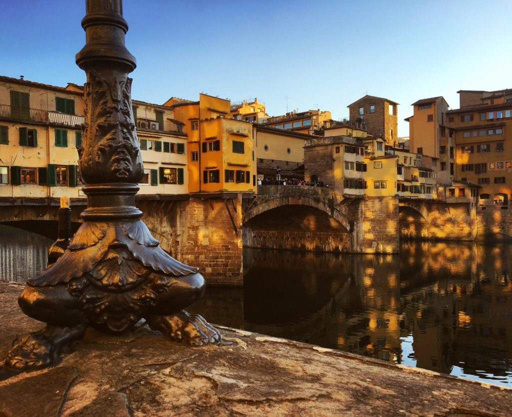 Light reflections at the Ponte Vecchio in Florence