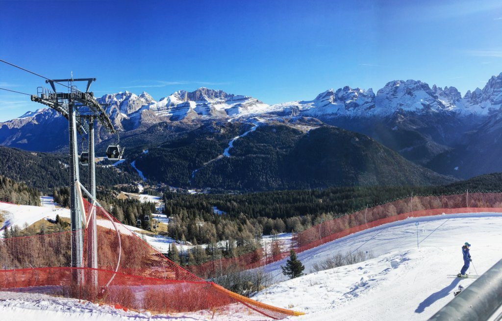 View of the Dolomites from the top of the slopes