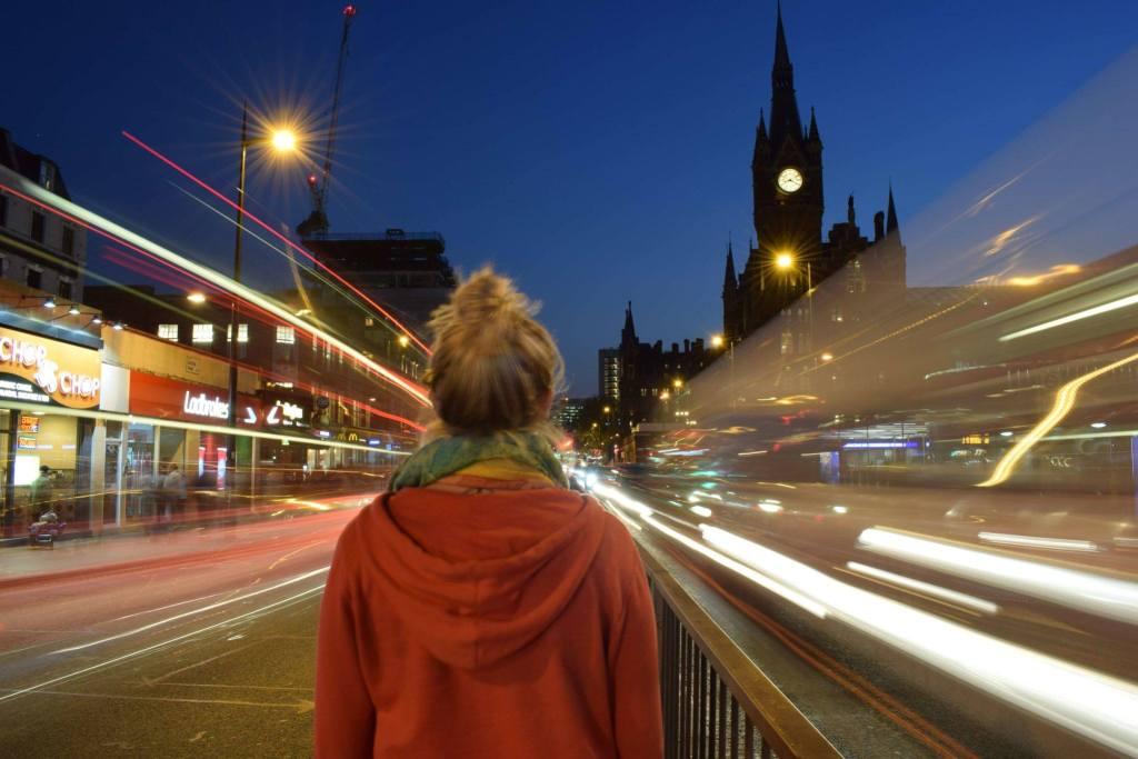Light trails at St Pancras International, London