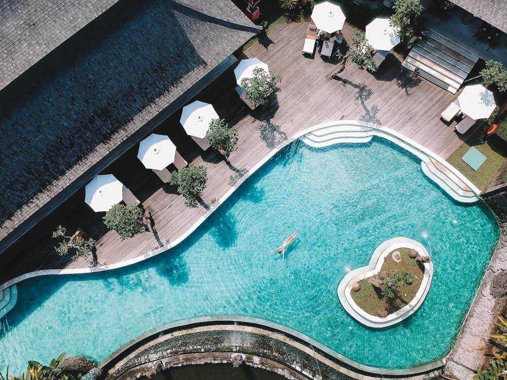 Drone shot of the main pool at Desa Visesa Ubud