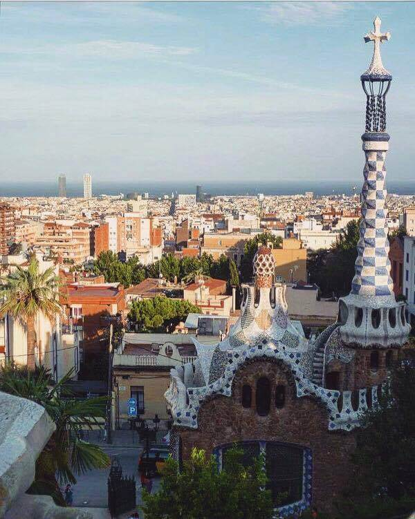 View over Barcelona from Park Güell in Barcelona, Spain
