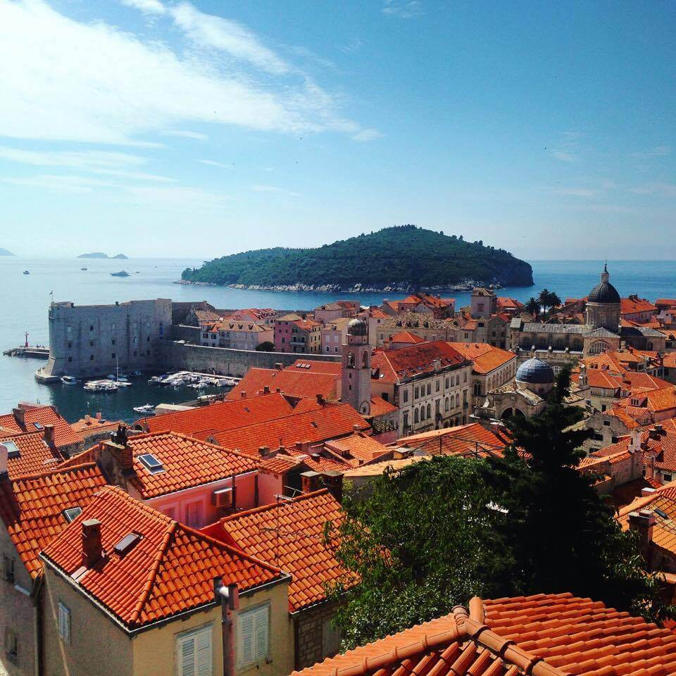 Overlooking the red roofs of Dubrovnik, Croatia