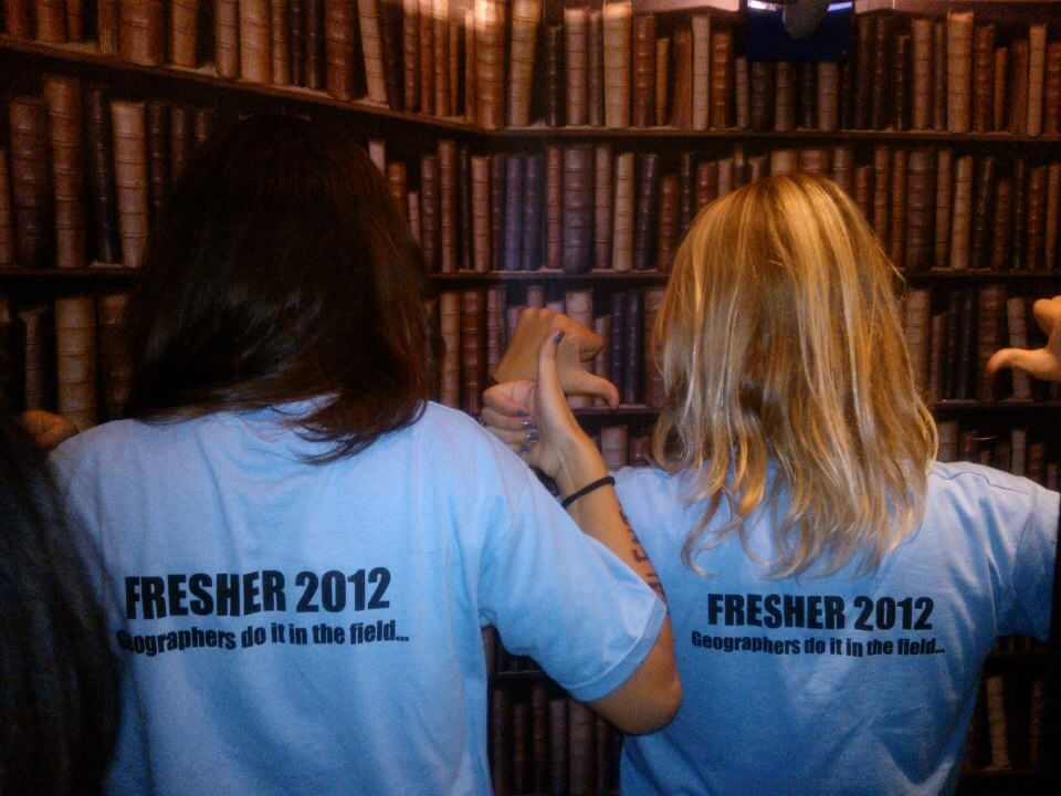 Matching t-shirts for all the Geography freshers, that's how cool we were