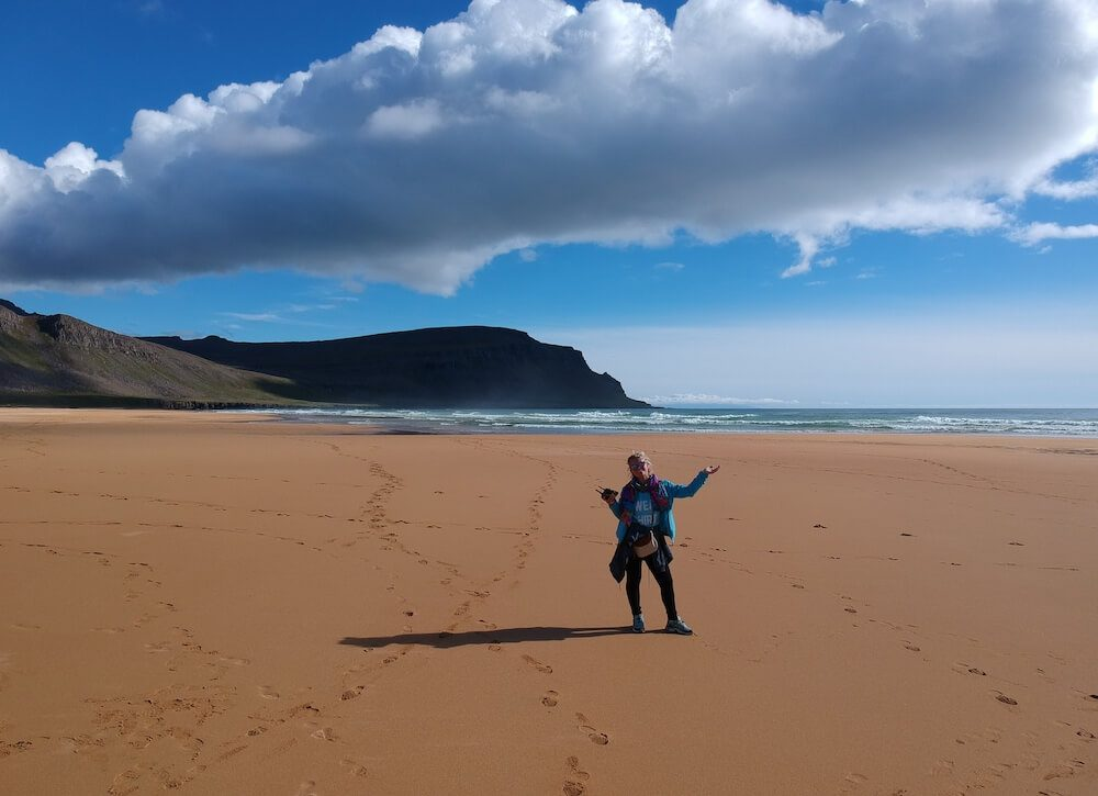 Enjoying a sunny day at the famous red beach; Rauðasandur