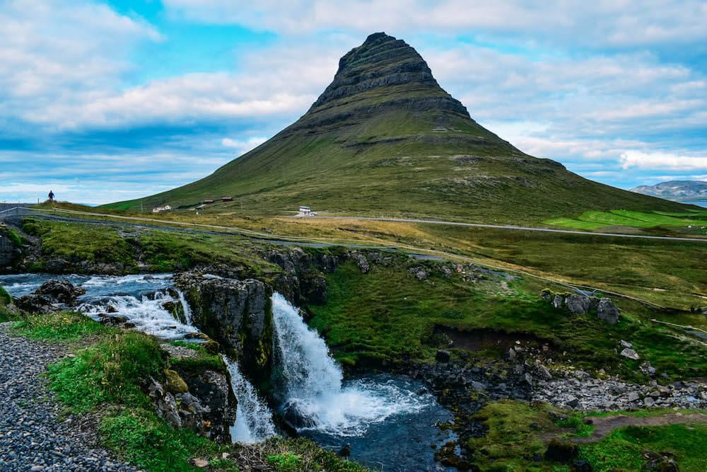 Kirkjufellsfoss waterfall with the iconic mountain in the back