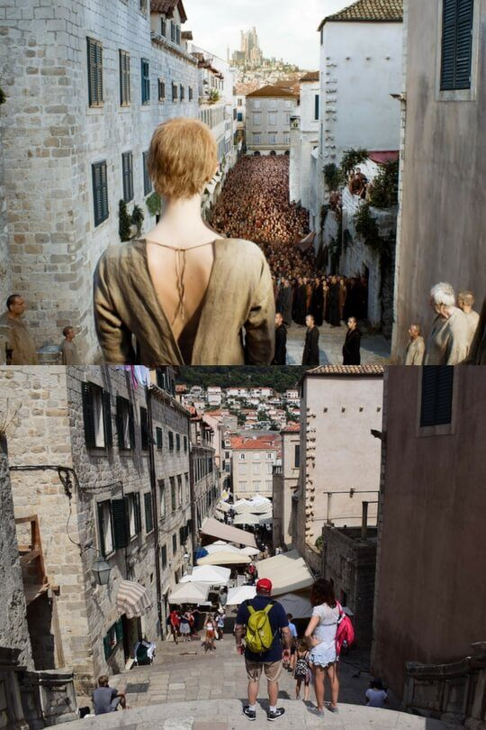 Cersei getting ready for the Walk of Shame in Episode X, Season X above, the view from the Spaniard steps below
