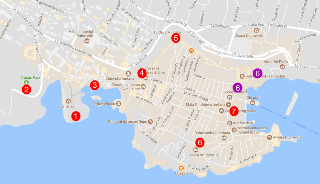 The main filming locations of Game of Thrones around the Old Town of Dubrovnik