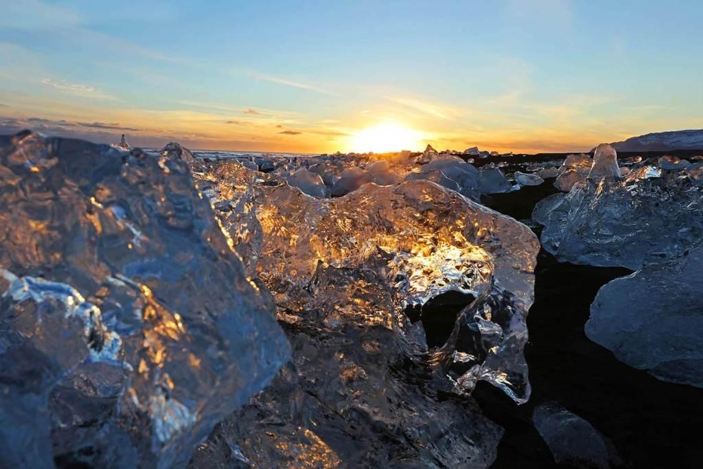 Sunset at Diamond Beach Jokulsarlon Iceland