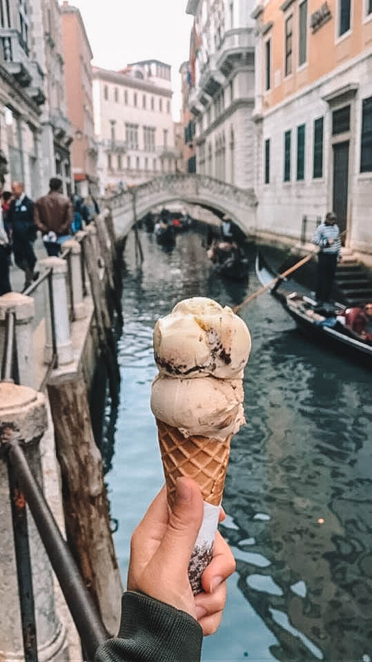 Enjoying a gelato in the side streets of Venice