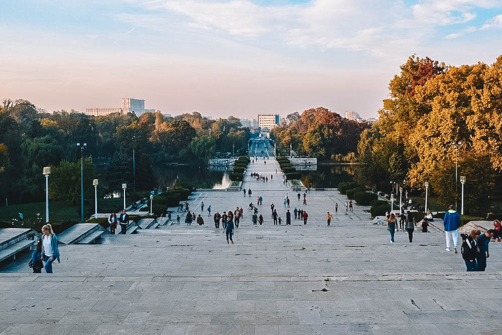 View over Bucharest and Carol Park from under the Monument of the Unknown Soldier