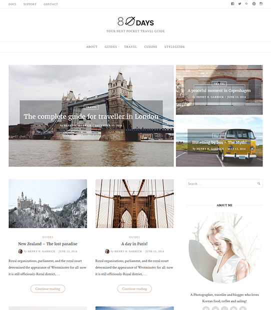 EightyDays - Beautiful WordPress Travel Theme For Travel Blogs