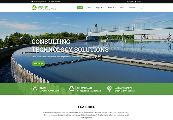 greentech wordpress business theme