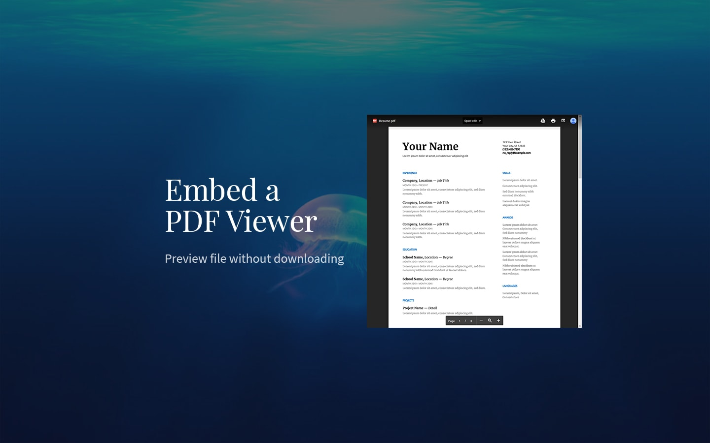 embed pdf viewer to wordpress posts