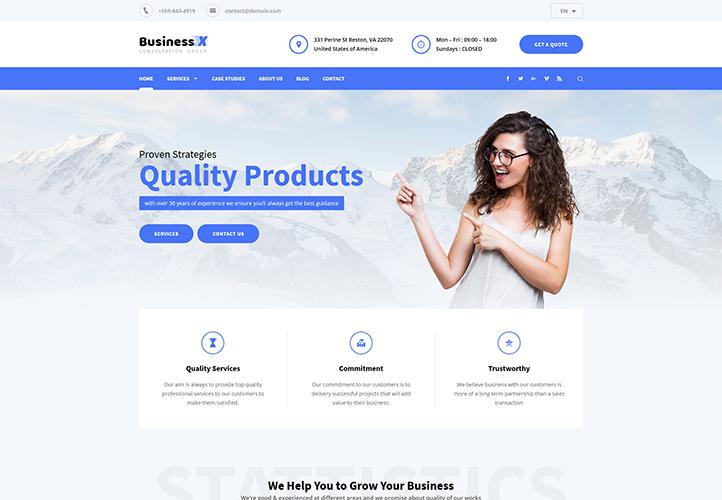business x responsive wordpress business theme gretathemes