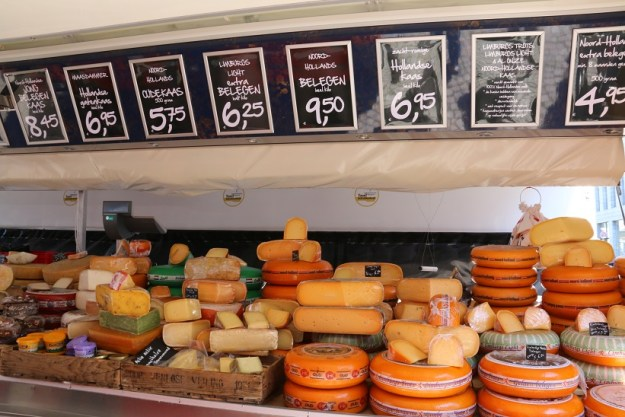 A cheese stall at the market