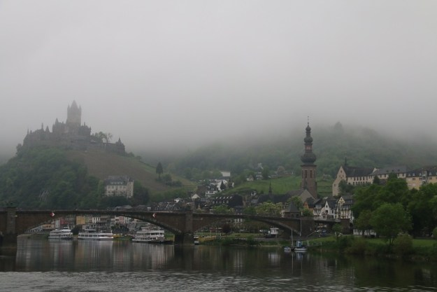 Mist hangs over the river as we approach Cochem