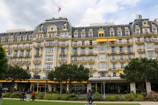 Montreux Palace with statue of Nabokov in the foreground