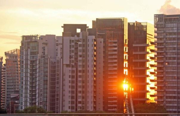 Sunset between the apartment blocks