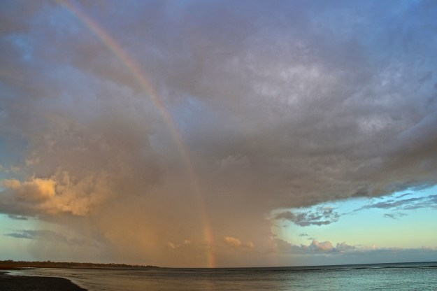 A rainbow in a rain cell, dawn, Hervey Bay