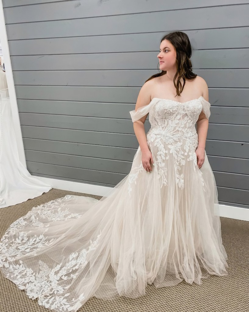 flowing train wedding gown