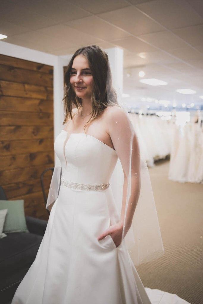 strapless summer wedding gown