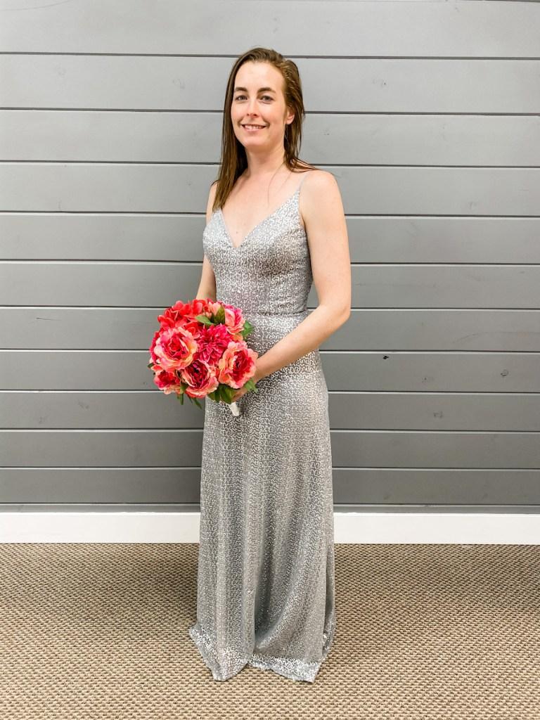 silver bridesmaid dress