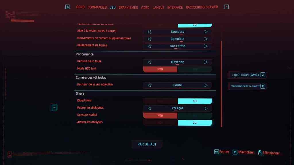 cyberpunk 2077 - onglet jeu