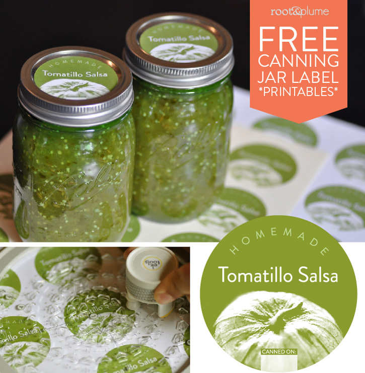 Photo of tomatillo salsa, custom labels linking to printables to download.