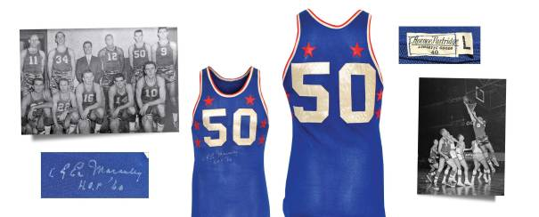 "1957 ""Easy"" Ed Macauley NBA All-Star Game-Used & Autographed Western Conference Jersey With Stirrups"