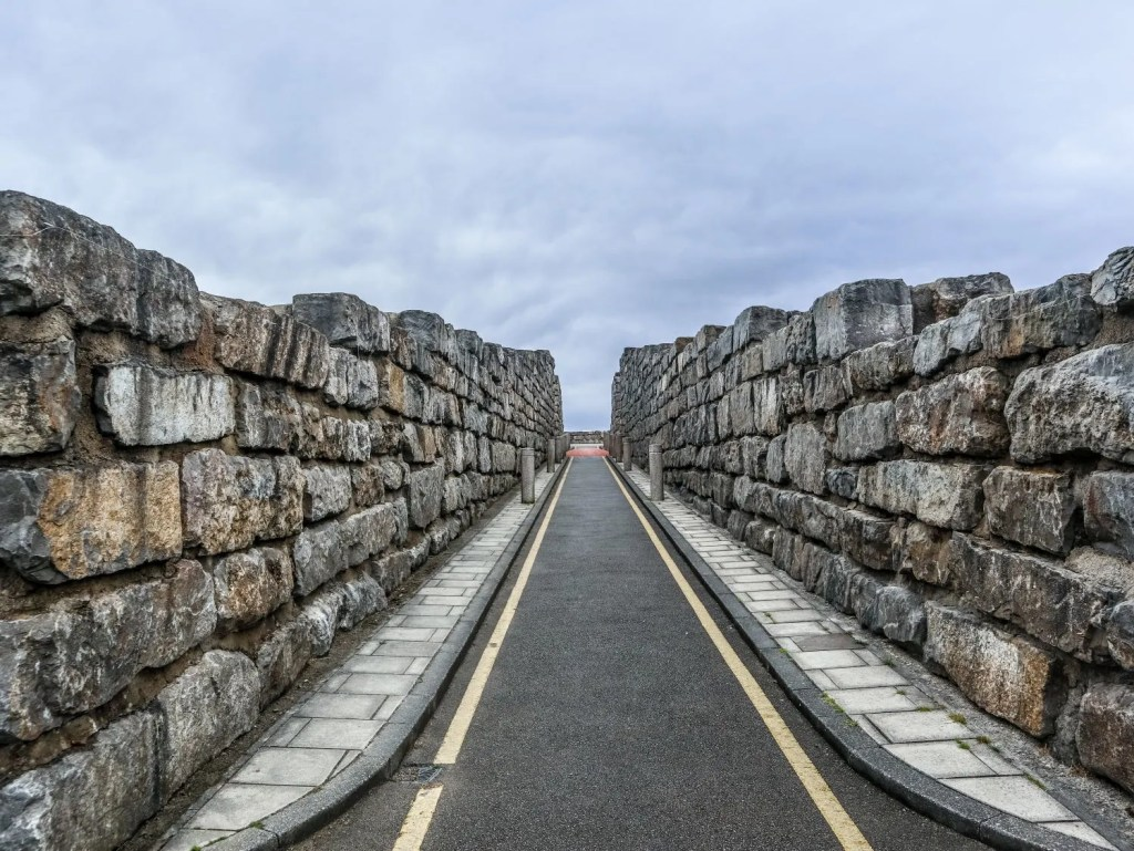 The towering limestone walls of the street at the Coldstones cut