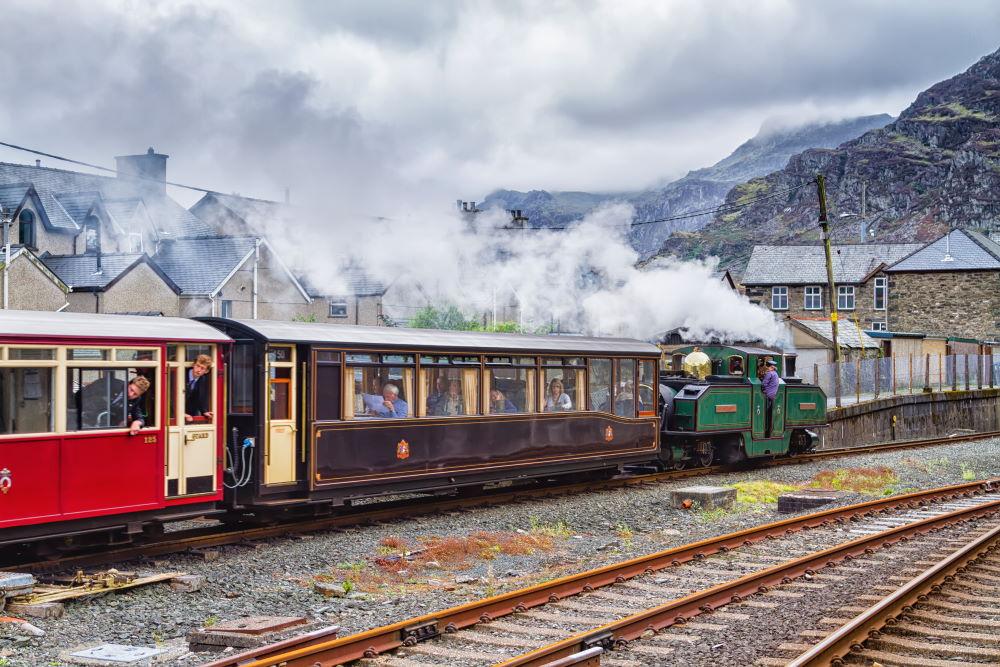 Ffestiniog Steam Railway in the Snowdonia Mountains