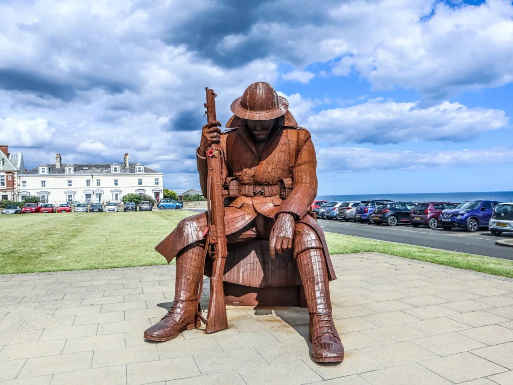 """The huge 9ft 5 steel sculpture of """"Tommy"""" at Seaham, on the Durham Heritage Coast"""