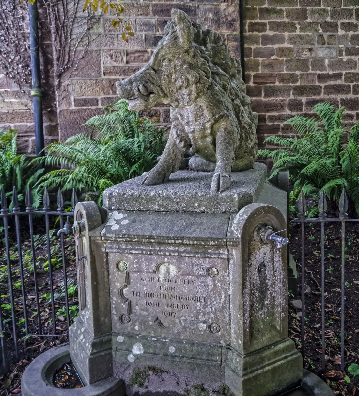 Wild Boar statue Ripley Village, Yorkshire, UK